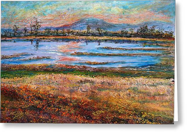 Dusk At Wildlife Refuge Greeting Card by Sandra Longmore