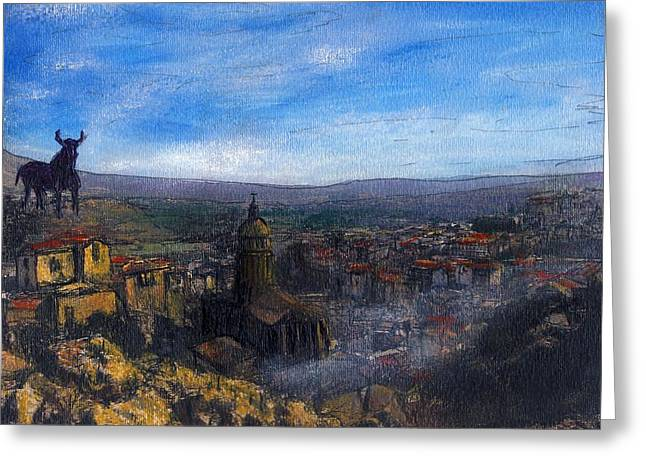 Dusk Falls On The Road To Malaga Greeting Card by Randy Sprout