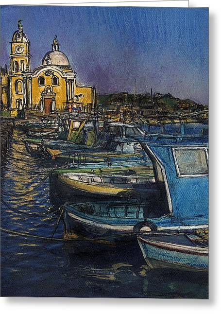 Dusk Falls Over Procida Fleet Greeting Card