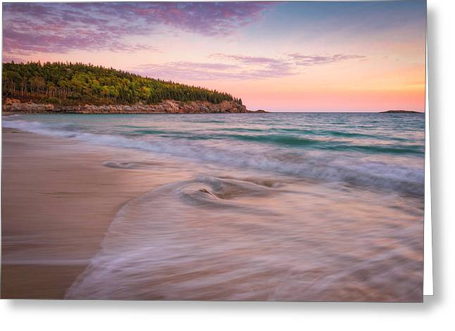 Dusk Glow At Sand Beach Greeting Card