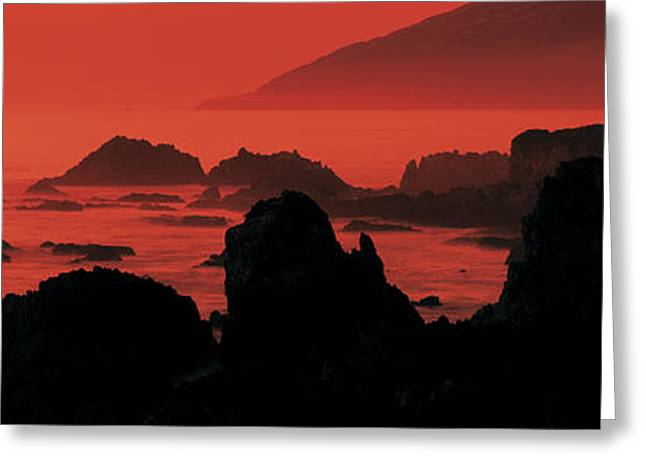 Dusk Headlands Near Pacific Valley Big Greeting Card by Panoramic Images