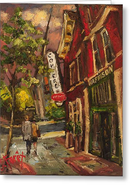 Dusk In Downtown Greeting Card by Carole Foret