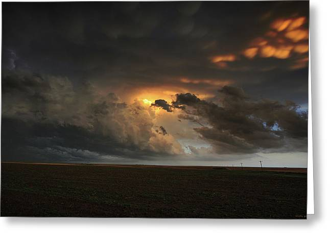 Dusk In The Great Plains Greeting Card by Brian Gustafson