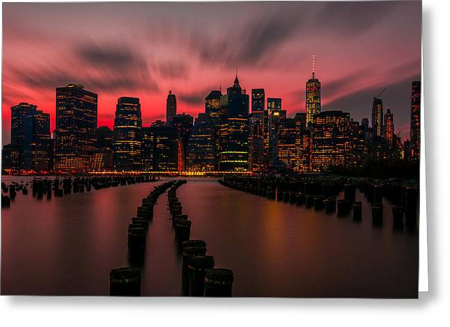 Dusk Manhattan Greeting Card