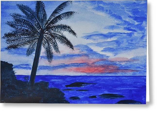 Dusk Ocean Scene Greeting Card by Linda Brody