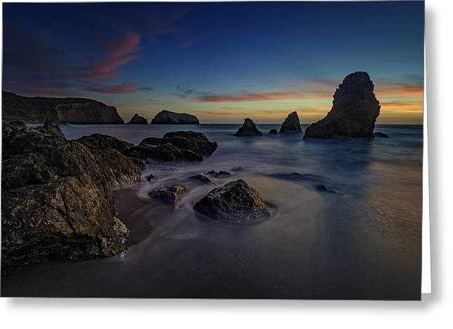 Dusk On Rodeo Beach Greeting Card by Rick Berk