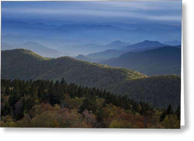 Blue Ridge Mountains Greeting Cards - Dusk on the Blue Ridge Parkway Greeting Card by Andrew Soundarajan