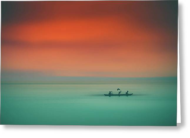 Dusk On The Lake Greeting Card by Marji Lang