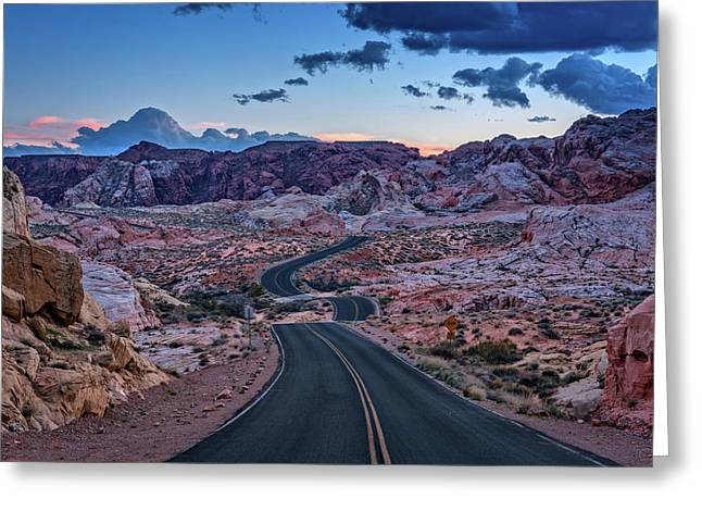 Dusk On The Open Road Greeting Card by Rick Berk