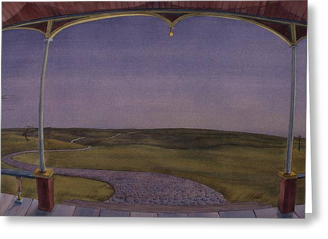 Dusk On The Porch Of The Old Victorian Greeting Card