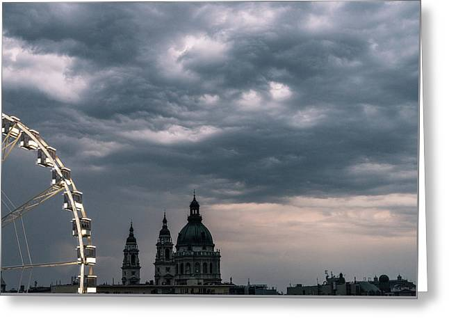 Greeting Card featuring the photograph Dusk Over Budapest by Alex Lapidus