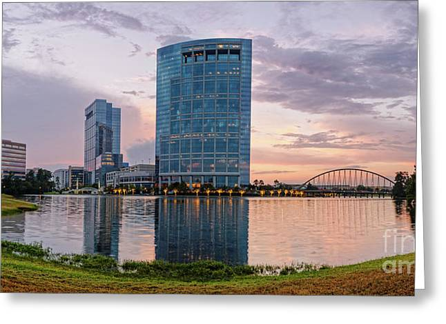 Dusk Panorama Of The Woodlands Waterway And Anadarko Petroleum Towers - The Woodlands Texas Greeting Card