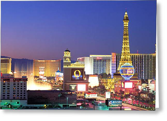 Dusk, The Strip, Las Vegas, Nevada, Usa Greeting Card by Panoramic Images