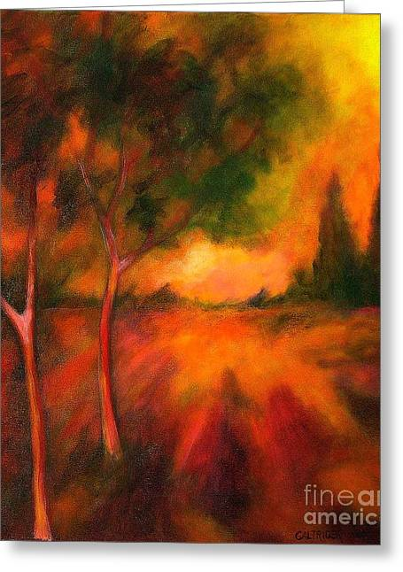 Greeting Card featuring the painting Dusks Reflection by Alison Caltrider