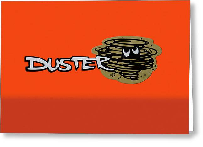Greeting Card featuring the photograph Duster Emblem by Mike McGlothlen