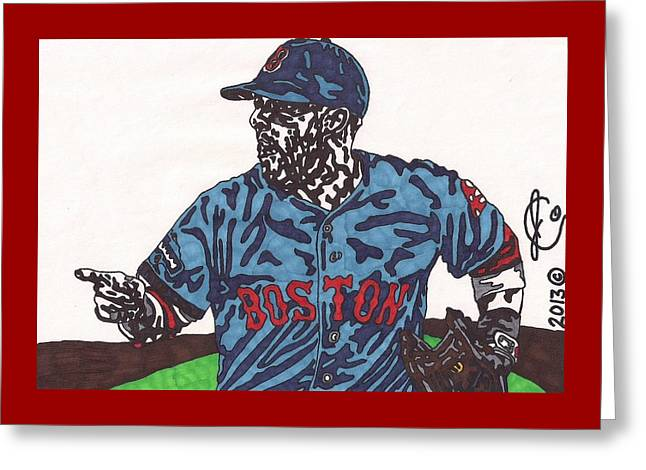 Dustin Pedroia 2 Greeting Card by Jeremiah Colley