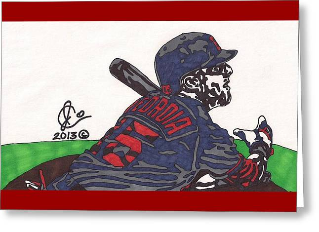 Dustin Pedroia 3 Greeting Card by Jeremiah Colley