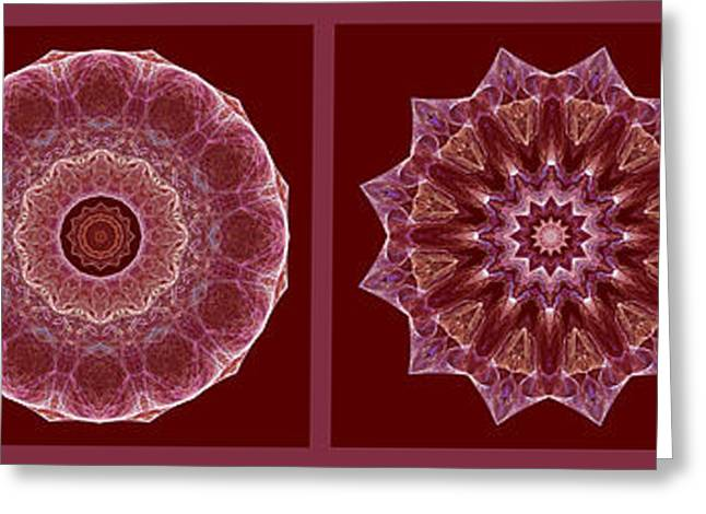 Dusty Rose Mandala Fractal Panel Greeting Card