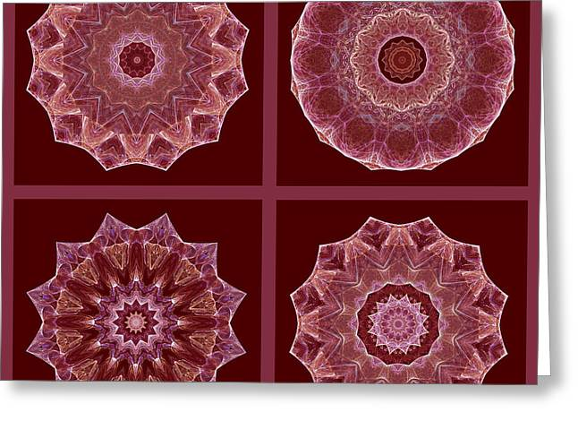 Dusty Rose Mandala Fractal Set Greeting Card