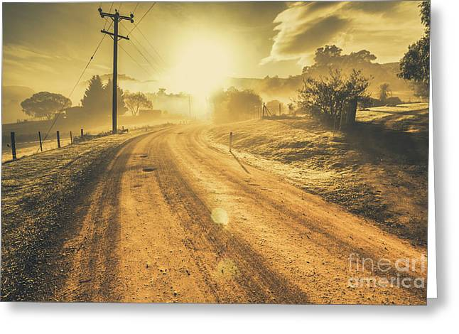 Dusty Small Town Road Greeting Card by Jorgo Photography - Wall Art Gallery