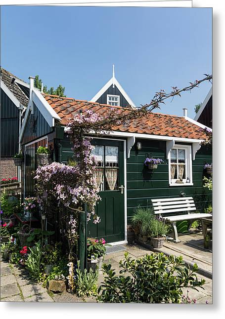 Dutch Country Charm - A Beautiful Little Cottage With Flowers Greeting Card by Georgia Mizuleva