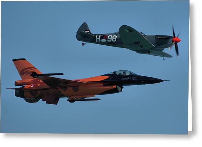 Dutch F-16 And Spitfire Greeting Card