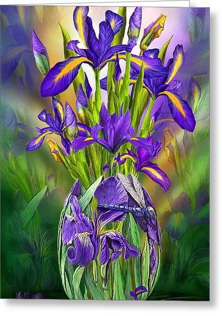 Dutch Iris In Iris Vase Greeting Card