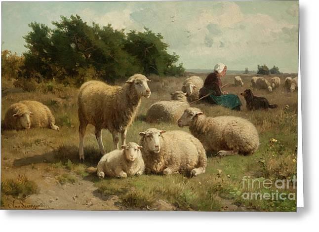 Dutch Landscape With Shepherdess Greeting Card