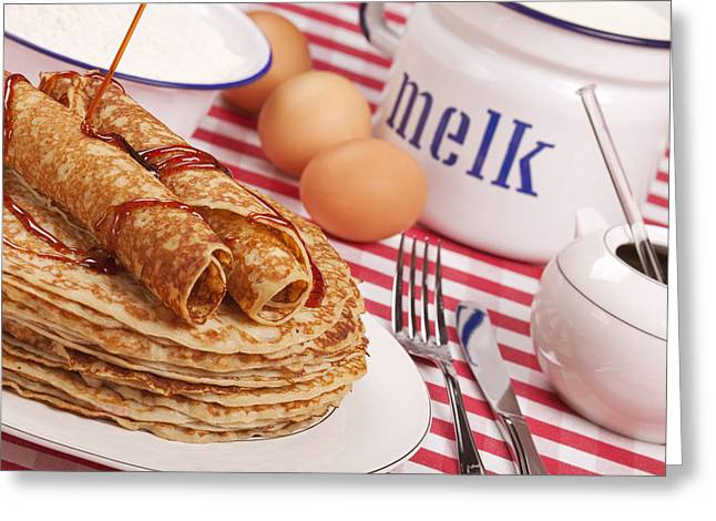 Dutch Pancakes With Syrup Greeting Card