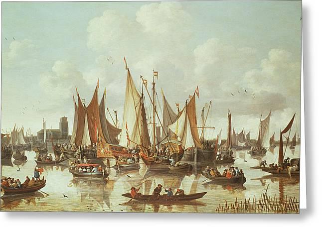 Dutch Ships At Dordrecht Harbor Greeting Card