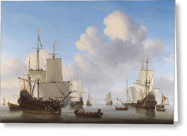 Dutch Ships In A Calm Greeting Card by War Is Hell Store