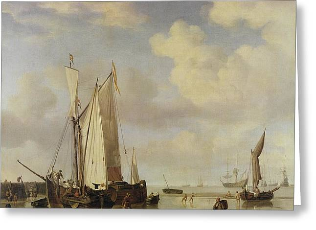 Calm Sea Greeting Cards - Dutch Vessels Inshore and Men Bathing Greeting Card by Willem van de Velde