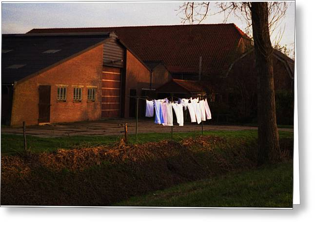 Dutch Washline At Dusk Greeting Card