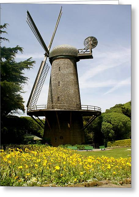 Dutch Windmill Greeting Card by Sonja Anderson
