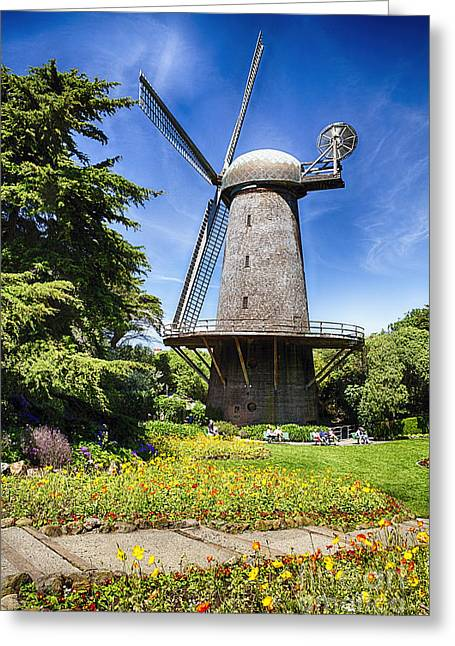 Dutch Windmill With Blooming Tulips And Poppies Greeting Card by George Oze