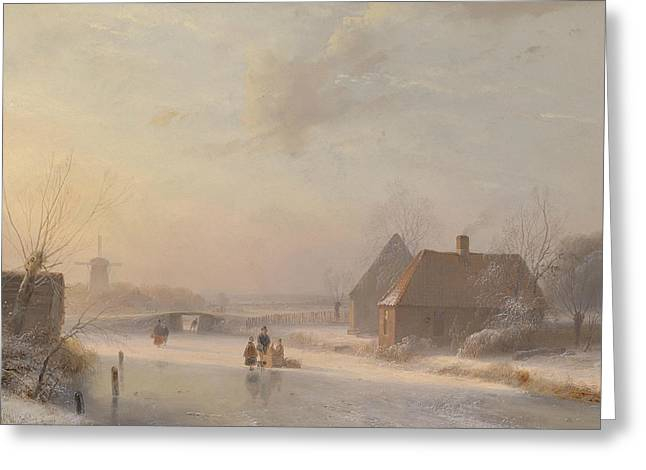 Dutch Winter Landscape With Ice Skaters Greeting Card