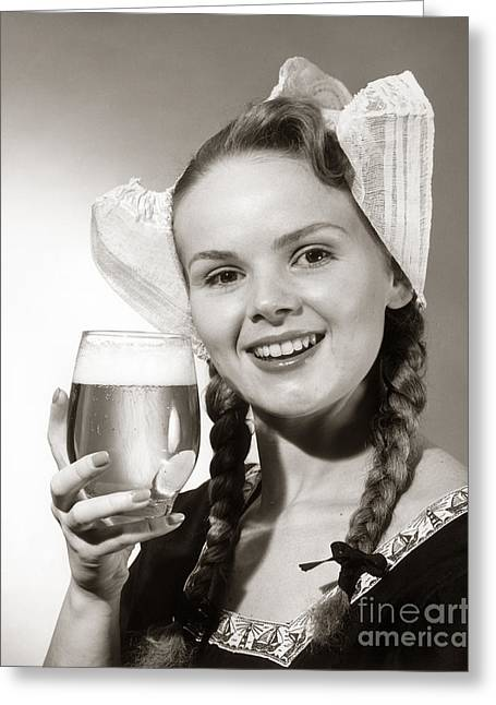 Dutch Woman With Beer, C.1950s Greeting Card
