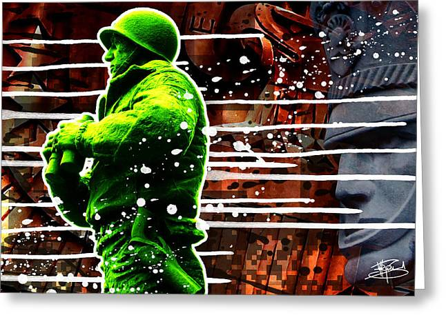 Points Mixed Media Greeting Cards - Duty Honor Country Greeting Card by Michael Figueroa