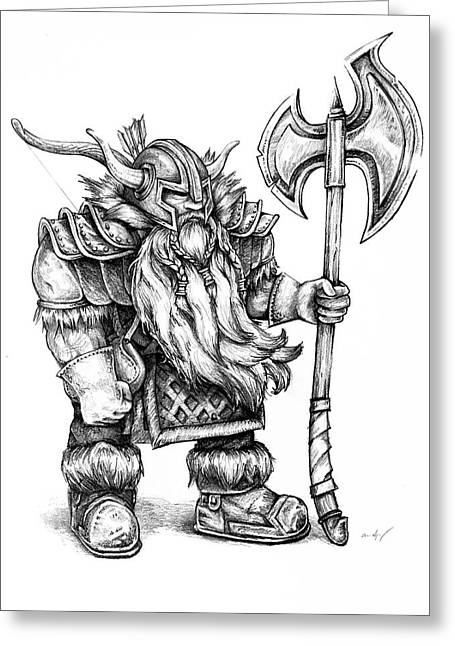 Dwarf Greeting Card by Aaron Spong
