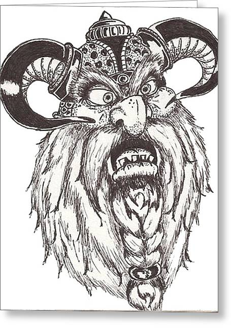 Dwarf Berserker Greeting Card by Law Stinson