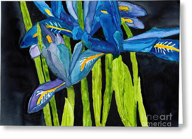 Dwarf Iris Watercolor On Yupo Greeting Card