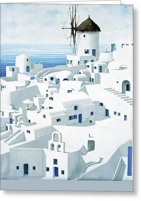 Dwellings, Santorini - Prints From Original Oil Painting Greeting Card