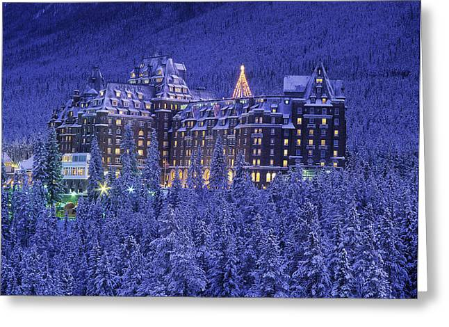 D.wiggett Banff Springs Hotel In Winter Greeting Card