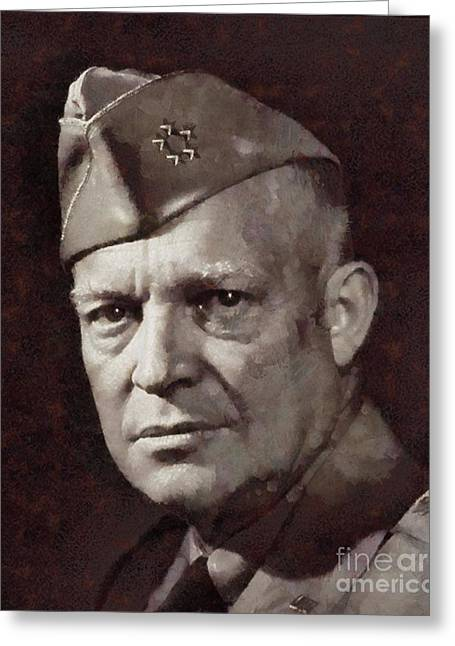 Dwight Eisenhower, President United States And General By Sarah Kirk Greeting Card