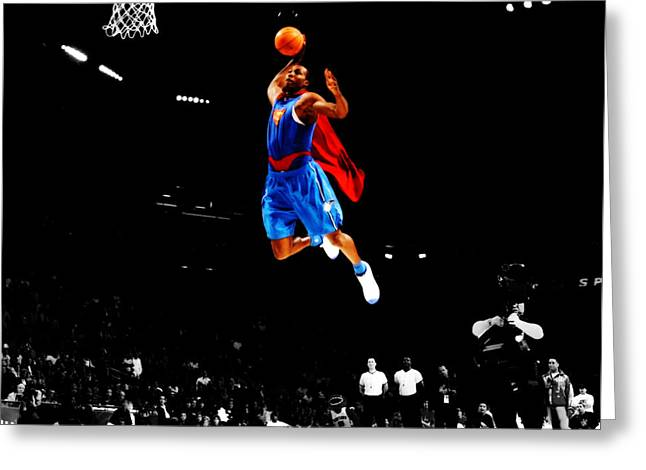 Dwight Howard Superman Dunk Greeting Card by Brian Reaves