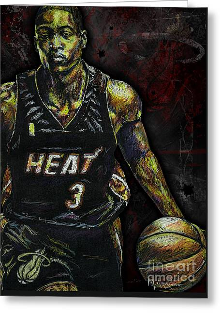 Dwyane Wade Greeting Card by Maria Arango