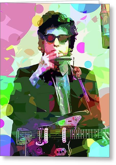 Dylan In Studio Greeting Card by David Lloyd Glover