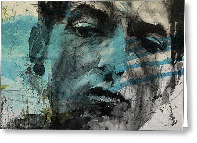 Dylan - Retro  Maggies Farm No More Greeting Card by Paul Lovering