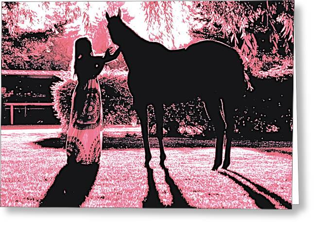 Dylly And Lizzy Pink Greeting Card by Valerie Rosen