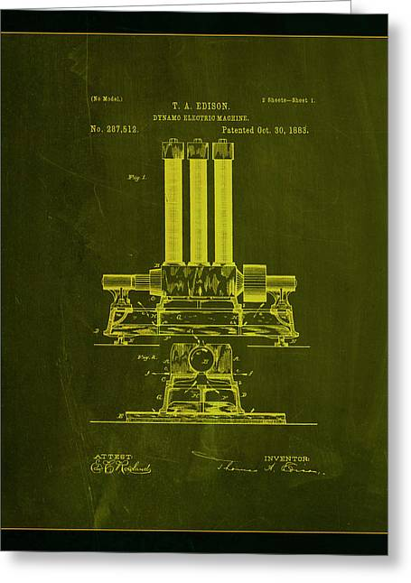 Dynamo Electric Machine Patent Drawing 1a Greeting Card by Brian Reaves